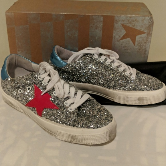 a71b7c1d41ab2 Golden Goose May glitter red star sneakers 36 NWB